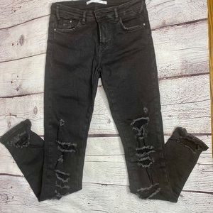 Zara Women's Black Ripped Jeans Pants Size 4
